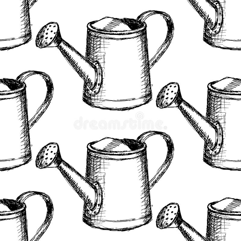 Sketch watering can, vector seamless pattern stock illustration