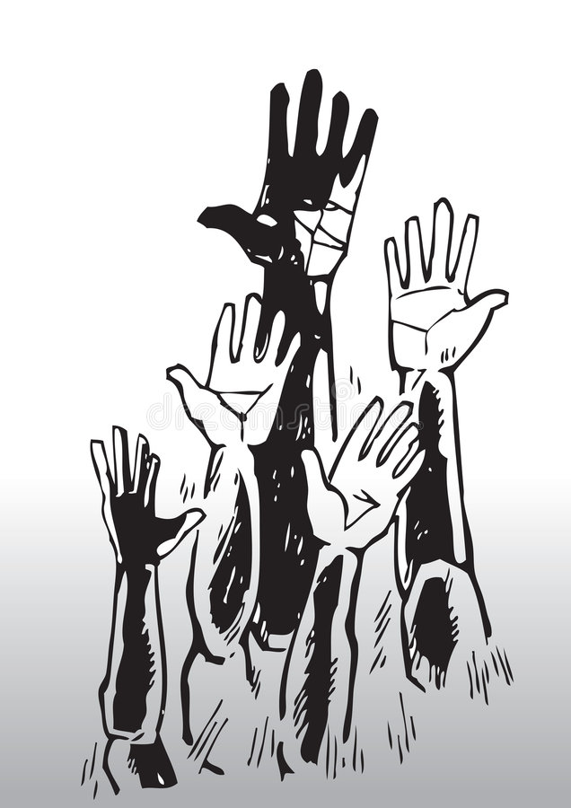 Sketch Of Waving Hands Stock Photography