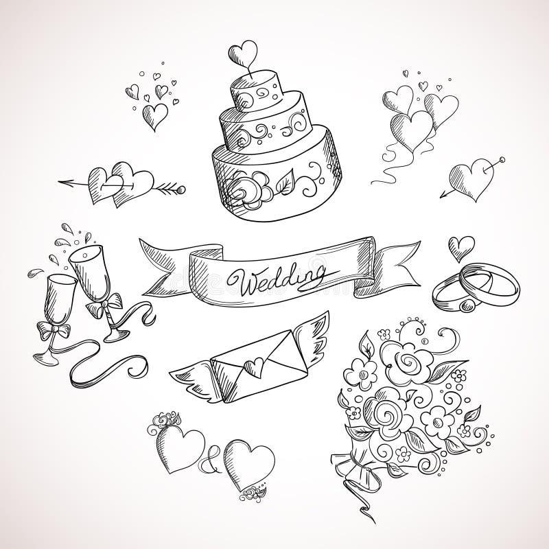 Sketch of wedding design elements stock illustration