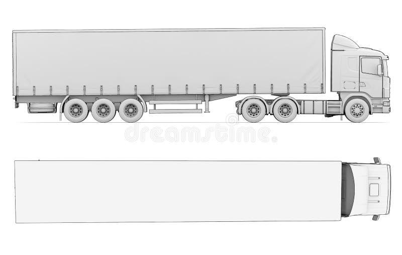 Sketch white truck vector illustration