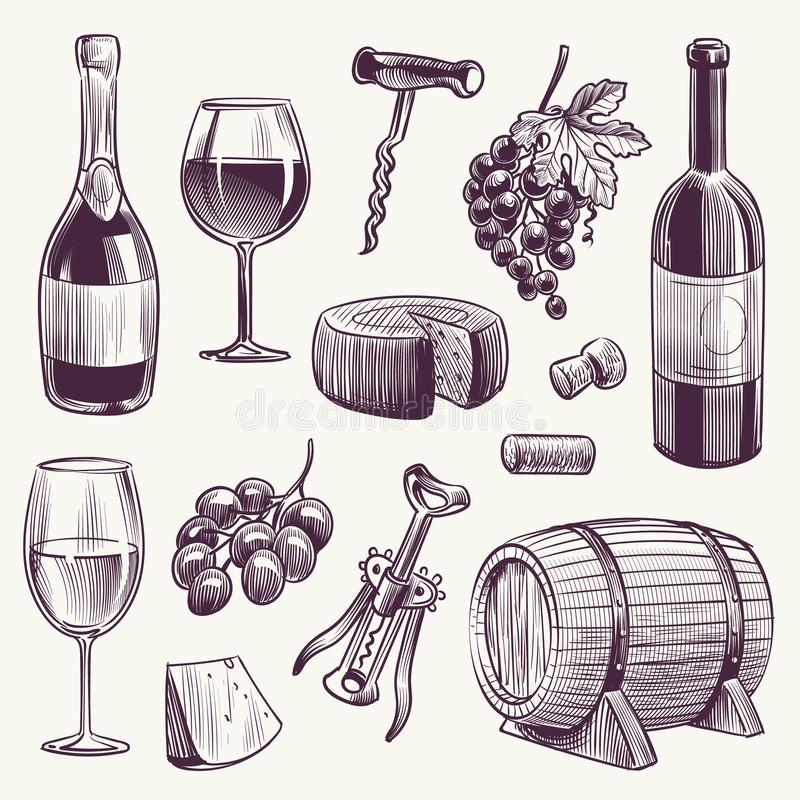 Sketch wine. Wine bottle and wineglasses, grape and cheese, wood barrel with organic alcohol drinks winery hand drawn stock illustration