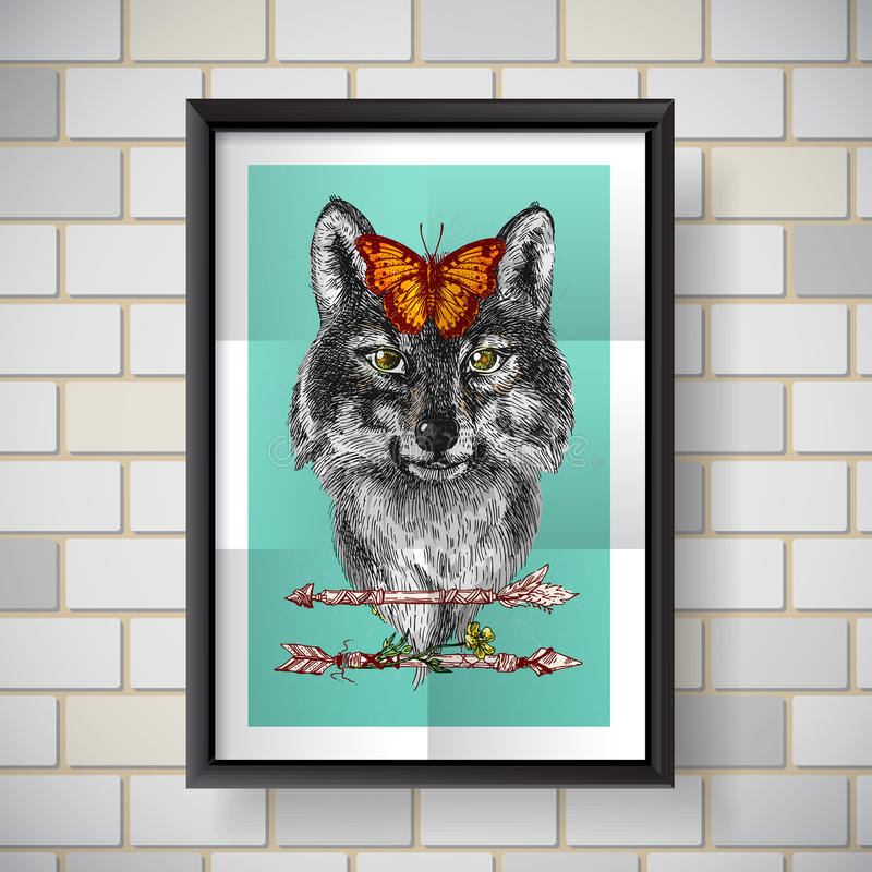 Sketch of wolf. Boho Style hand drawn poster with portrait of wolf. Vector illustration. Use for t-shirt prints, postcards royalty free illustration