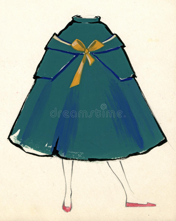 Sketch Of A Woman Dress Royalty Free Stock Image