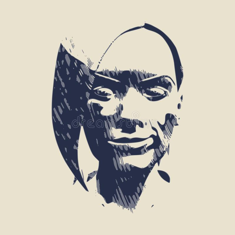 Sketch of a face royalty free illustration