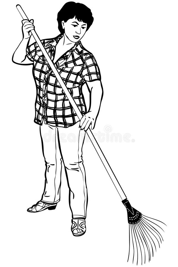 Sketch Of Woman Of Farmer With Rakes In Hands Stock Images