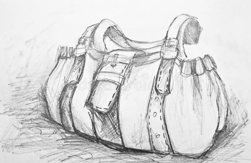 Sketch of woman fashion bag stock illustration