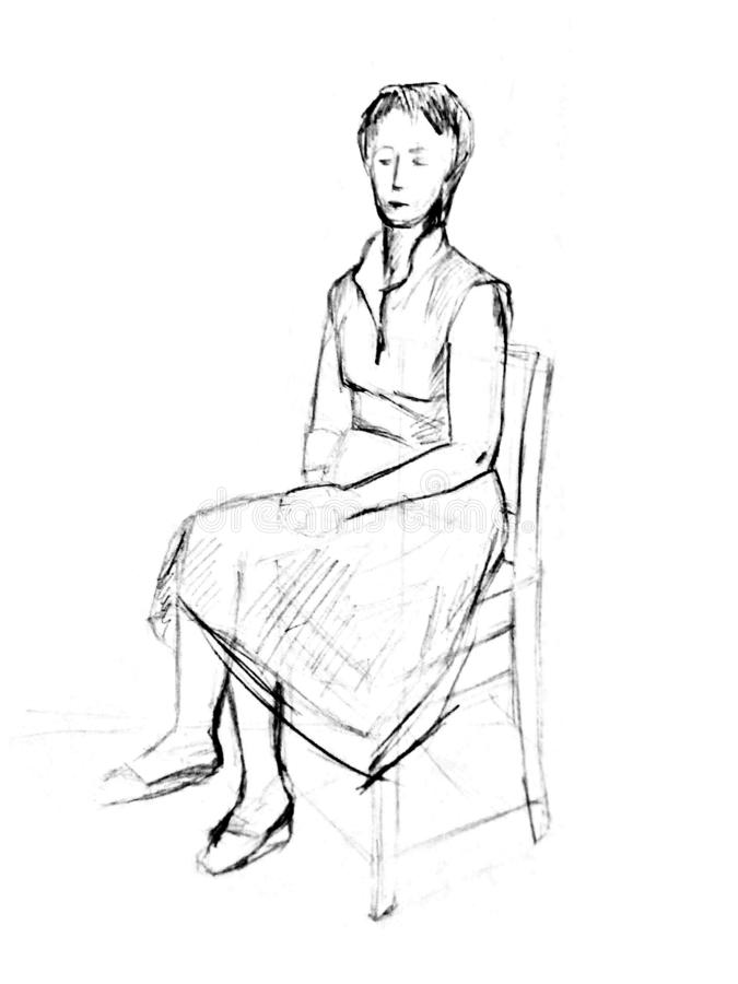 A sketch of a woman sitting on a chair in clothes. Pencil drawing. A sketch of a woman sitting on a chair in clothes. Pencil drawing on white paper stock photography