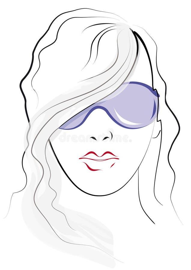 Sketch. Woman wearing sunglasses stock illustration