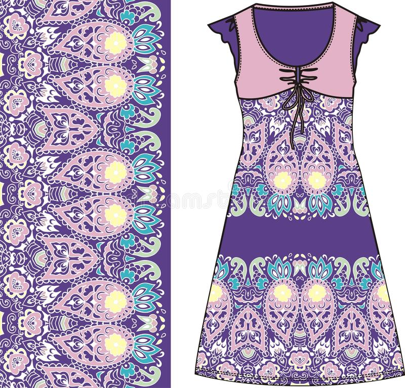 Sketch women's summer dress purple and pink colors fabric cotton, silk, jersey with oriental paisley pattern. Fashion design and. Illustration. Dress can be stock illustration