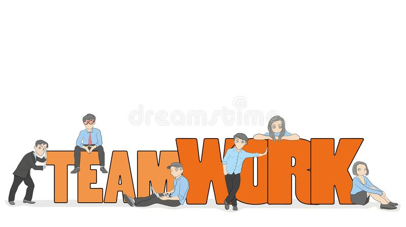 Sketch of working little people with big word Teamwork. Doodle cute miniature scene of workers. Hand drawn cartoon vector illustra vector illustration