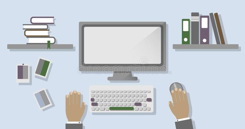 Sketch of the workplace with a computer, keyboard, mouse, with shelves and books. Flat style vector illustration