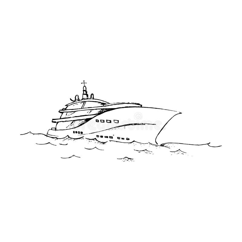 Sketch yacht, pleasure boat floating on the sea waves vector illustration, black and white hand-drawn vector drawing stock illustration