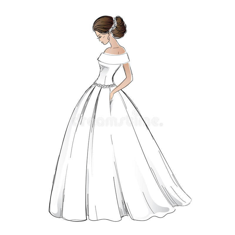 Wedding Hair Style Black Vector Art: Sketch Of Young Bride Model In Wedding Dress Stock Vector