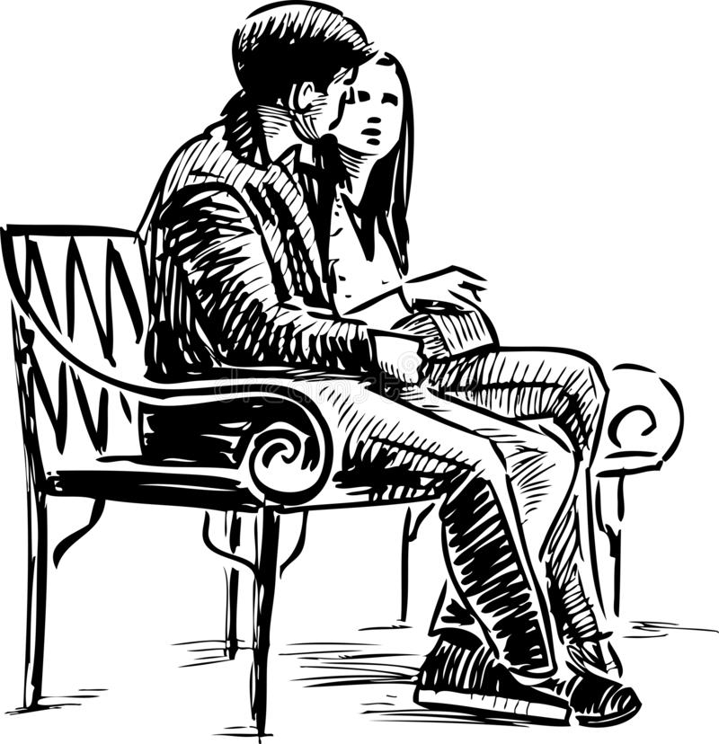 A couple of young townspeople sitting on a park bench vector illustration