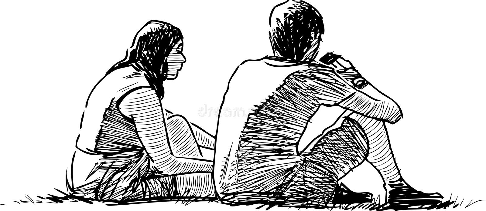 A sketch of young couple sitting on the grass. Vector drawing of the students rest on the lawn in a city park vector illustration