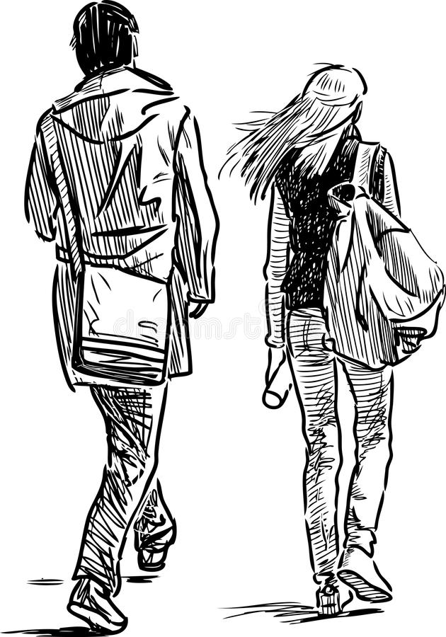 sketch of the young couple vector illustration