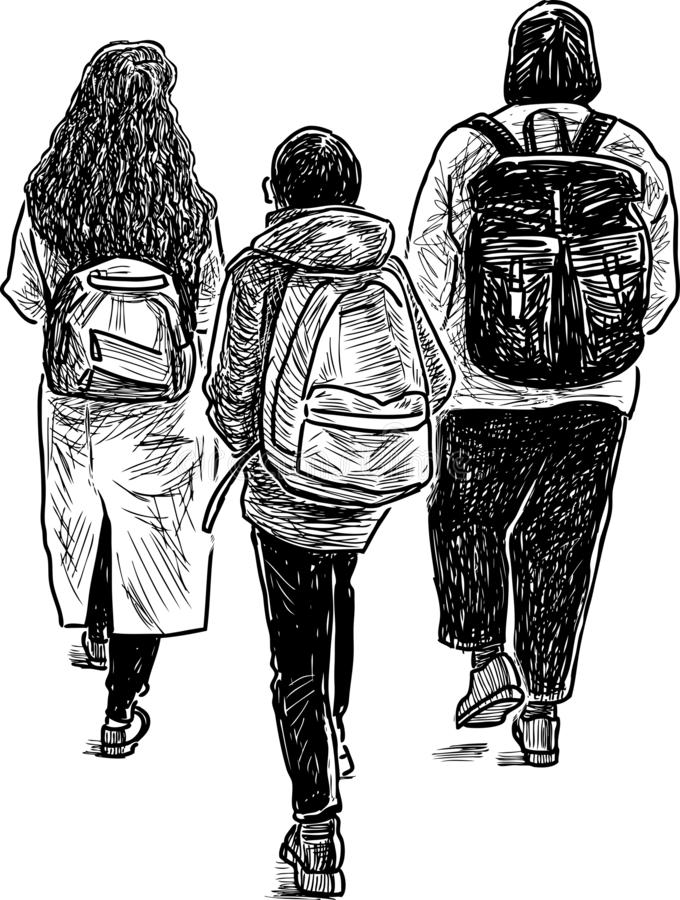 A sketch of young townspeople going down the street royalty free illustration