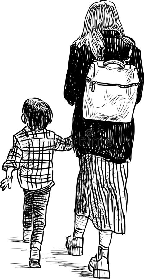 A sketch of young woman with her kid going on a stroll vector illustration