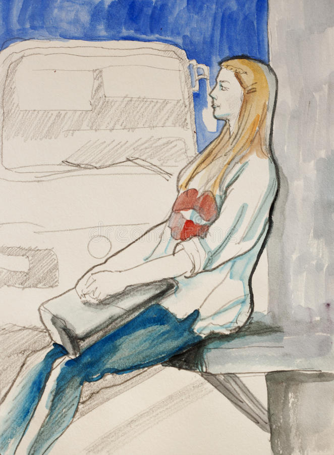 Sketch of young woman sitting on the bus stop awaiting her trans. Port ink and watercolor illustration stock illustration