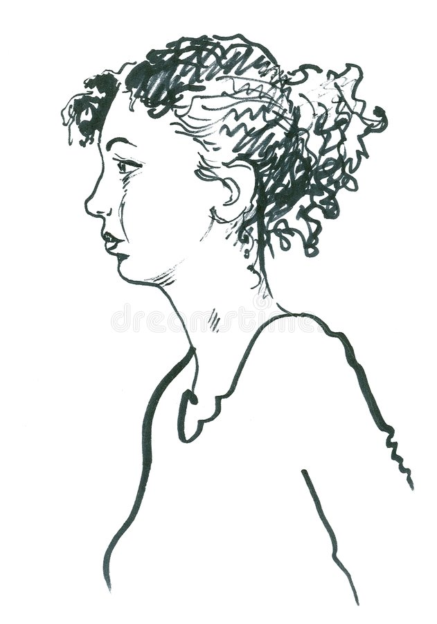 Sketch of young woman or teen royalty free stock photos