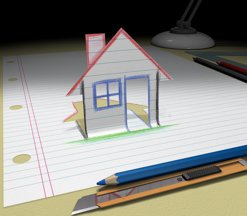 Sketch your dream house stock photo image of drawing for Draw your dream house