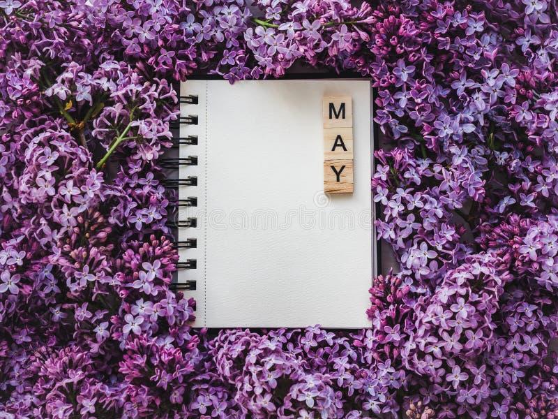 Sketchbook, blanco pagina en heldere lilac bloemen stock afbeelding