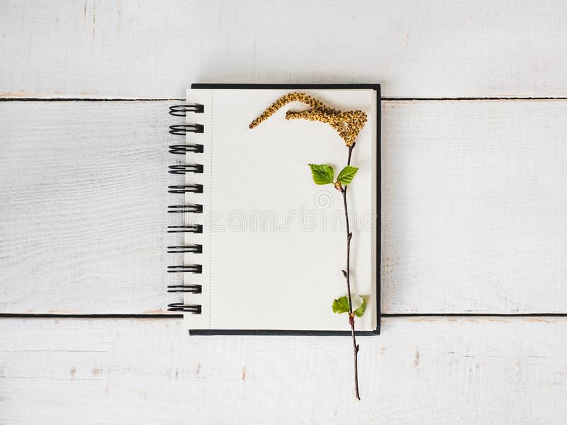 Sketchbook, blanco pagina, heldere bloem en roze lint royalty-vrije stock fotografie
