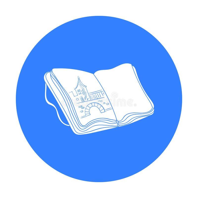 Sketchbook con l'icona dei disegni nello stile nero isolata su fondo bianco Vettore delle azione di simbolo del disegno e dell'ar illustrazione vettoriale