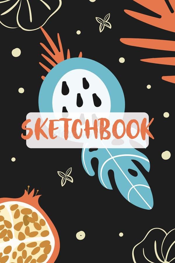 Sketchbook cover template. Vector fruits illustration royalty free illustration