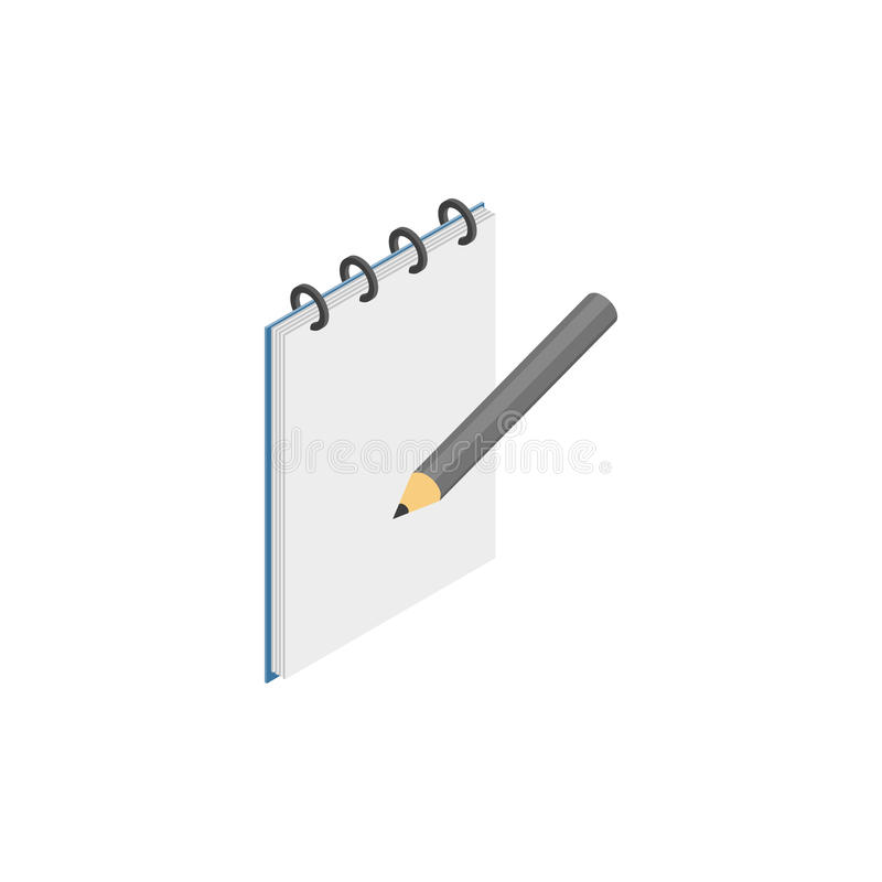 Sketchbook with pencil icon, isometric 3d style stock illustration