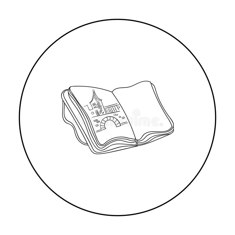 Sketchbook z rysunek ikoną w konturu stylu odizolowywającym na białym tle Artysta i rysunkowy symbolu zapasu wektor ilustracja wektor
