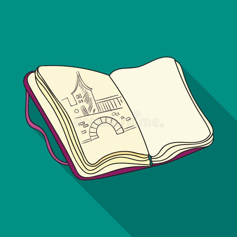 Sketchbook z rysunek ikoną w mieszkanie stylu odizolowywającym na białym tle Artysta i rysunkowy symbolu zapasu wektor royalty ilustracja
