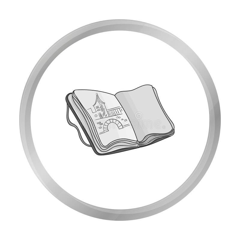 Sketchbook z rysunek ikoną w monochromu stylu odizolowywającym na białym tle Artysta i rysunkowy symbolu zapasu wektor ilustracji