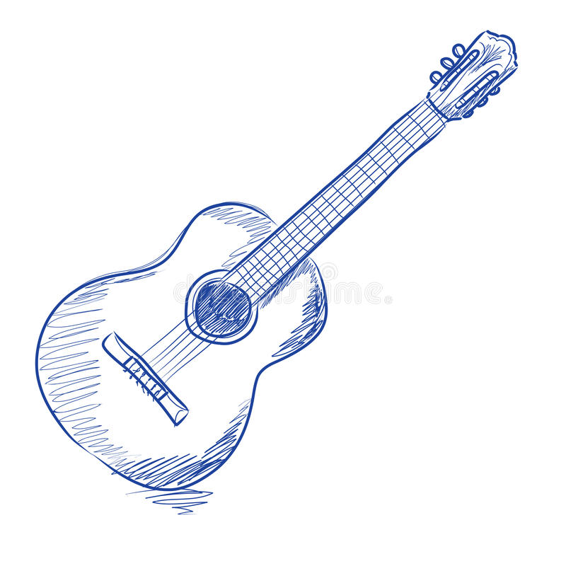 Download Sketched acoustic guitar stock vector. Illustration of strokes - 18208565