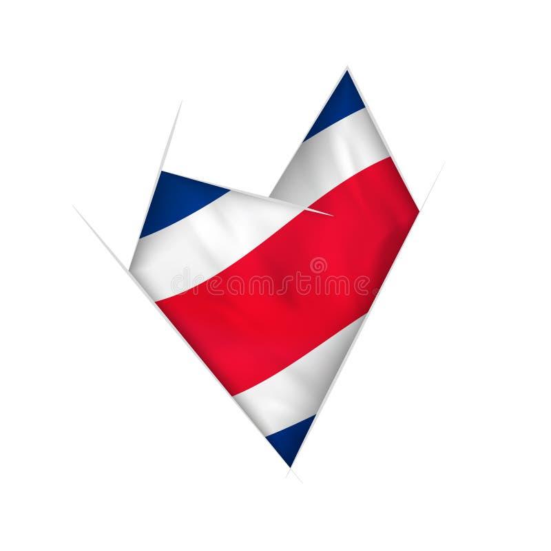 Sketched böjde hjärta med den Costa Rica flaggan stock illustrationer