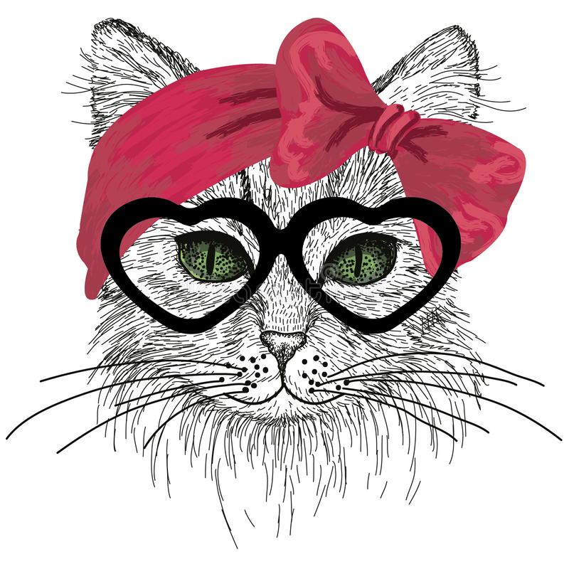 Free Sketched Cat With Green Eyes, Glasses And Hair Bow Stock Image - 109017141