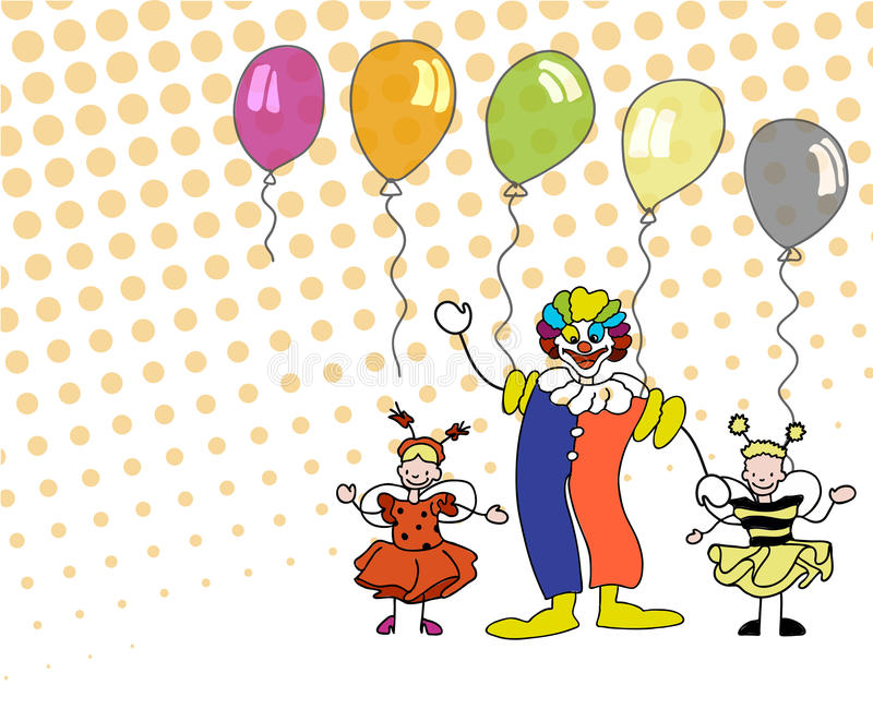 Sketched Clowm and Children with Ballons. Hand-drawn vector sketch, Artwork vector illustration