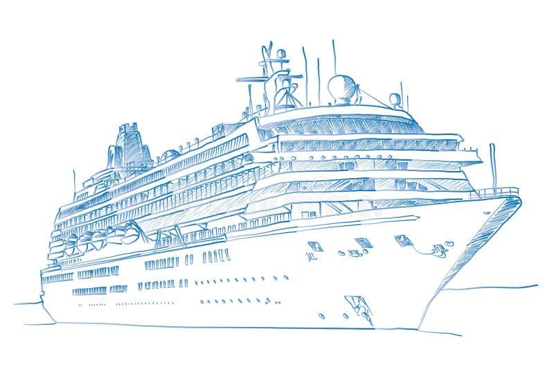 Sketched Cruiseship Stock Image