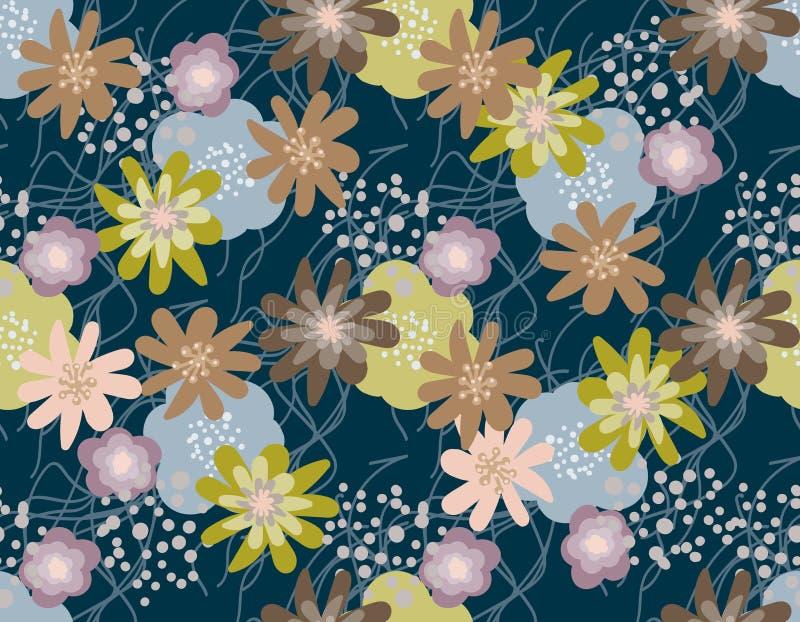 Sketched flower print vector illustration