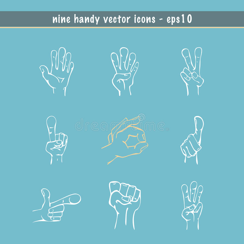 Sketched Hands Vector Set Stock Photos
