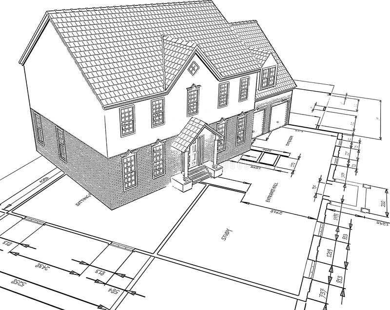 Download Sketched house on plans stock vector. Illustration of exterior - 14397295