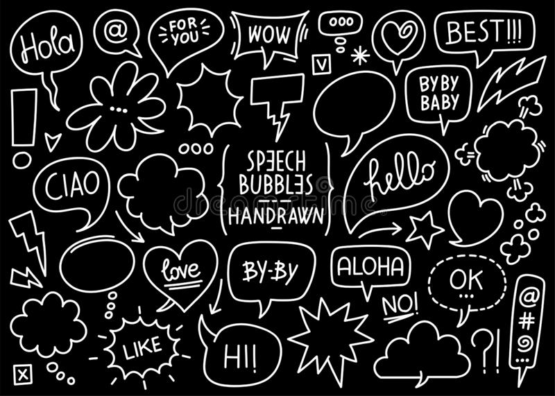 Sketched speech bubbles and comic balloons. Vector collection of sketched speech bubbles and comic balloons and effects on a black background vector illustration