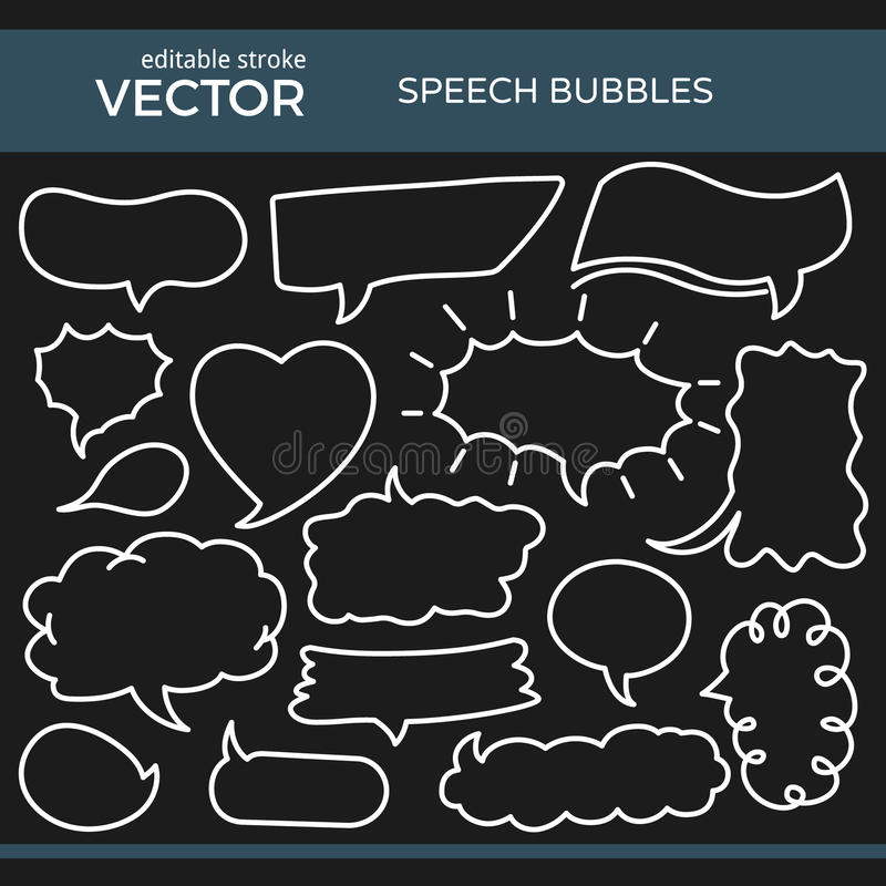Sketched Speech Bubbles with Editable Stroke. Set of Hand Drawn Comics Style Speech Bubbles with Editable Stroke stock illustration
