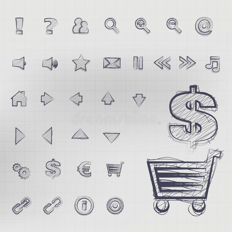 Sketched Vector Icons stock illustration