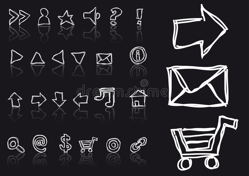 Sketched web icons stock illustration