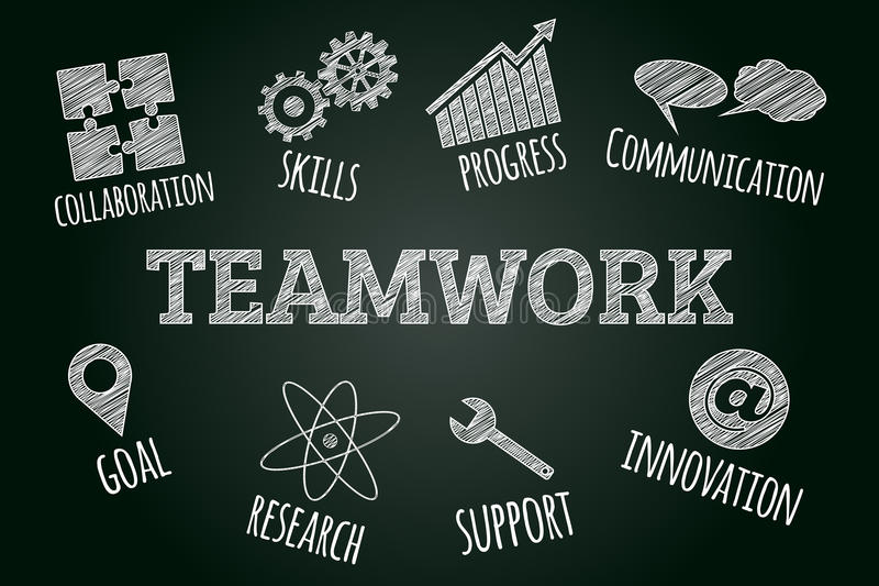 Sketched word cloud of teamwork related icons and words. Business concept on blackboard vector illustration