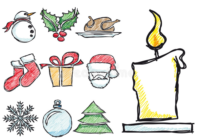 Sketched Xmas Symbols Stock Photography