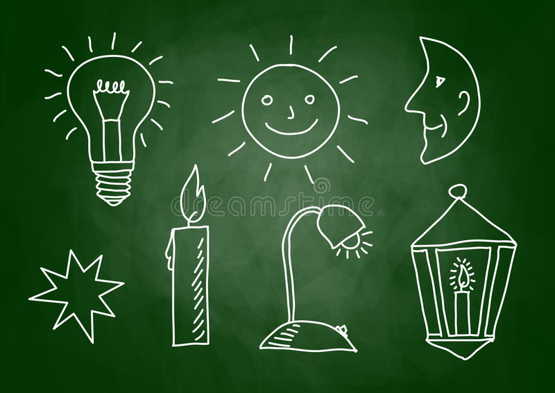 Download Sketches on blackboard stock vector. Image of light, cartoon - 27867061