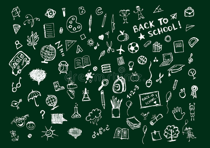 Sketches on blackboard, concept of school royalty free illustration