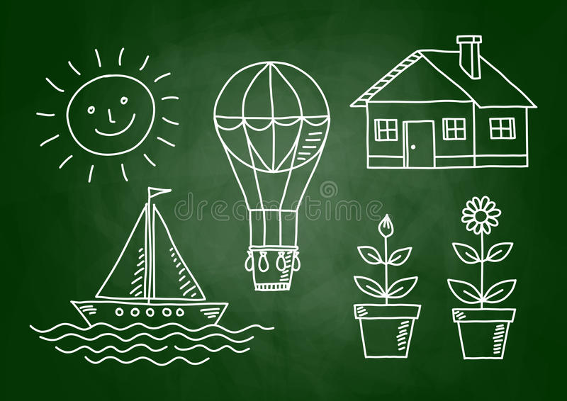 Download Sketches on blackboard stock vector. Image of house, dirty - 30391198